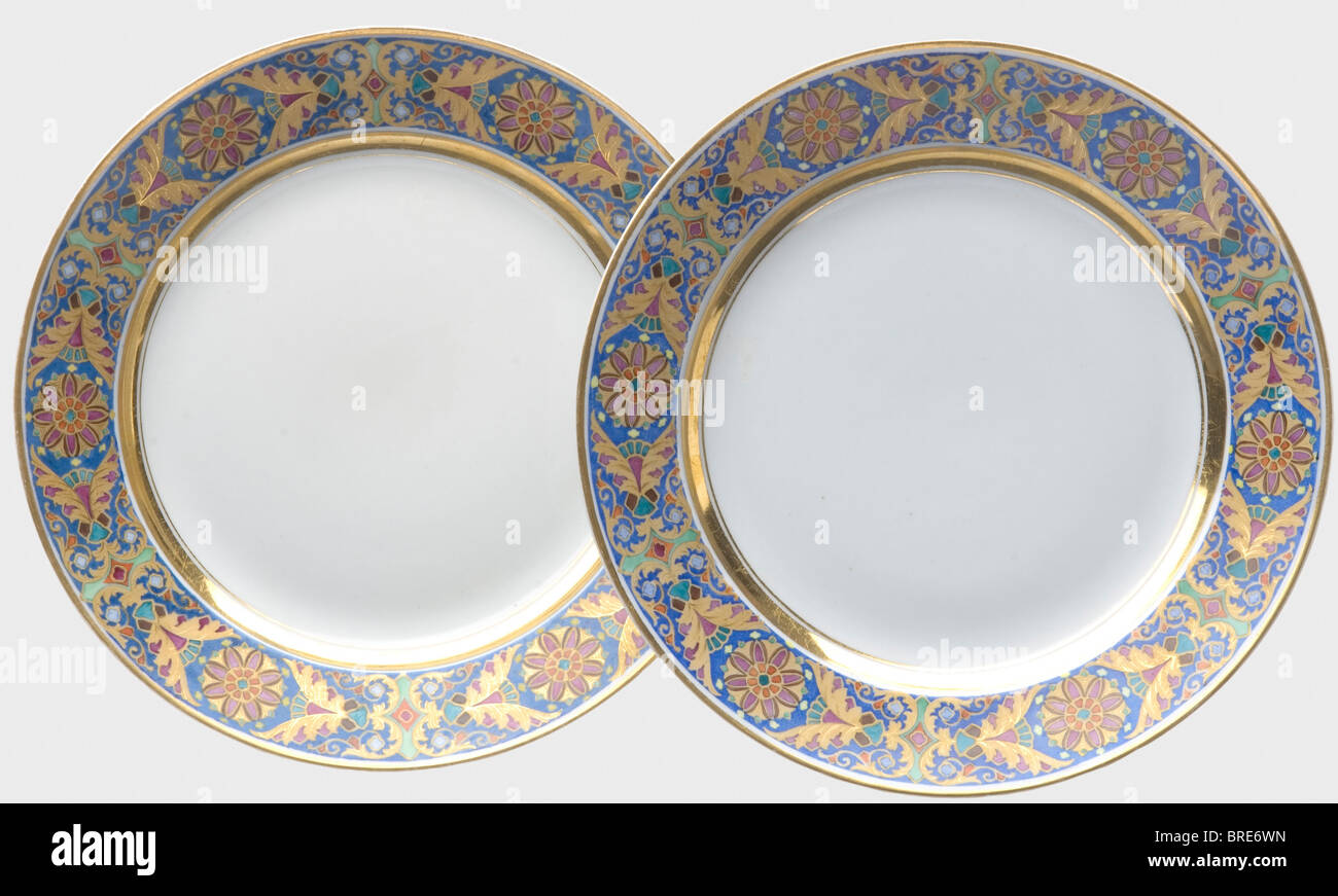 The Gothic table service two plates from the reign of Tsar Alexander II Imperial Russian Porcelain Manufactory St. Petersburg. & The Gothic table service two plates from the reign of Tsar ...
