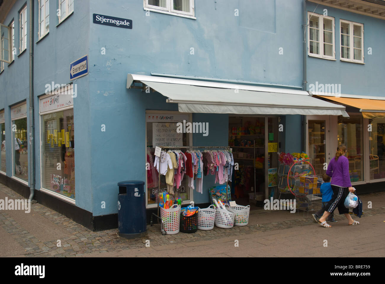 Shops in medieval town of Helsingor north Sjaelland Denmark Europe - Stock Image