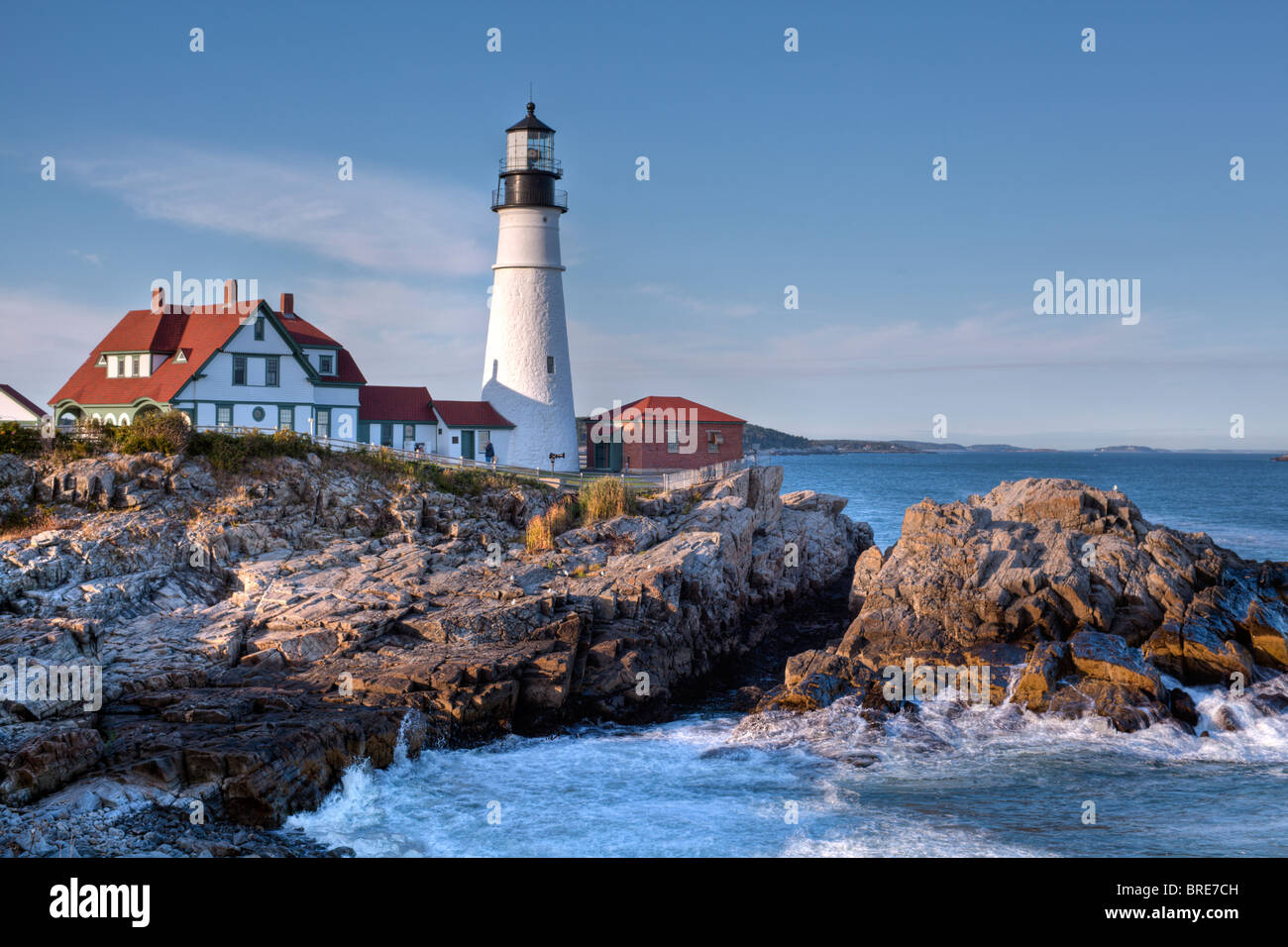 Lighthouse In Portland Maine In Fort Williams Park Stock