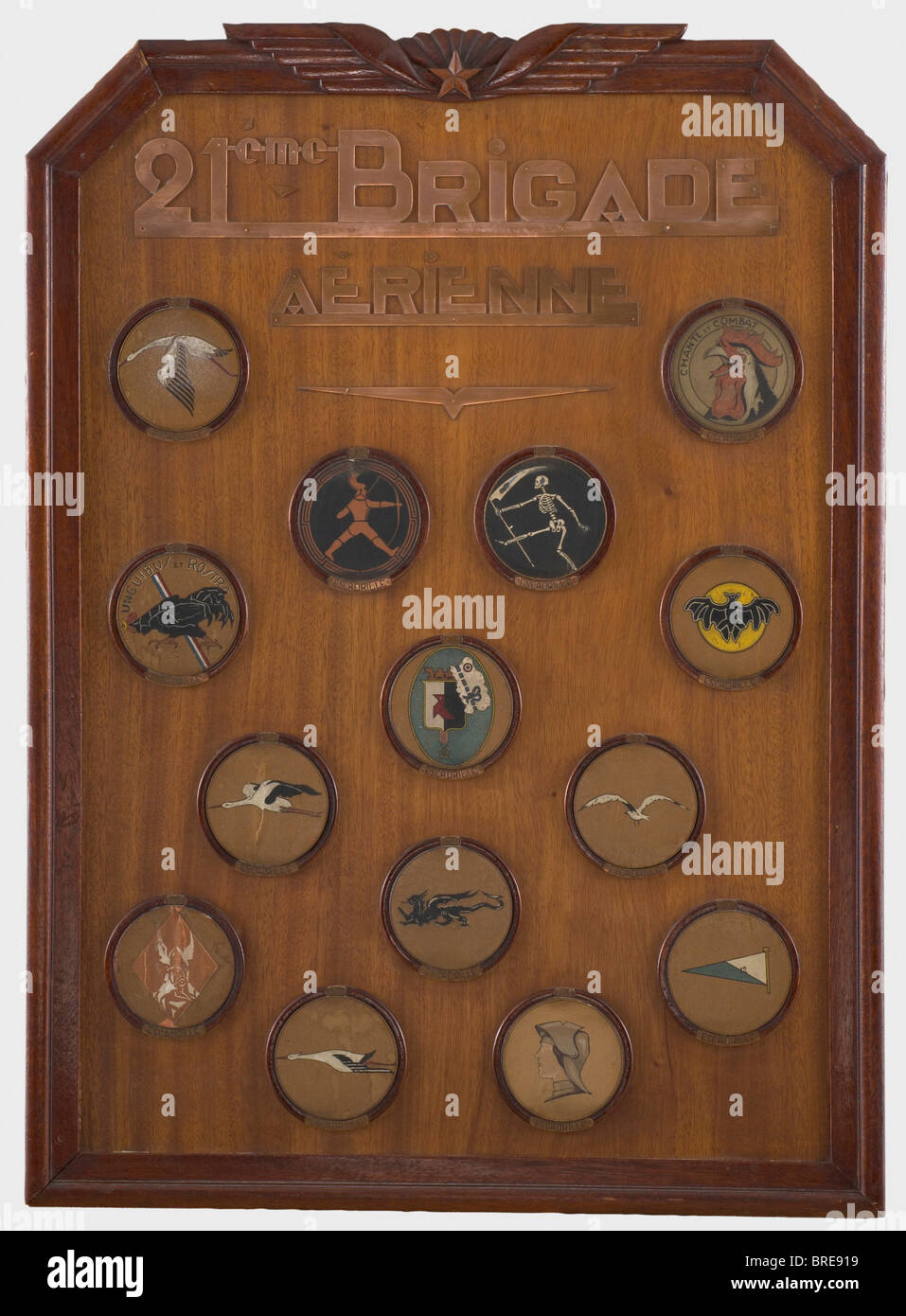 Armand Pinsard (1887 - 1953), a panel with squadron insignias Wooden table, upon which is a saw-cut inscription - Stock Image