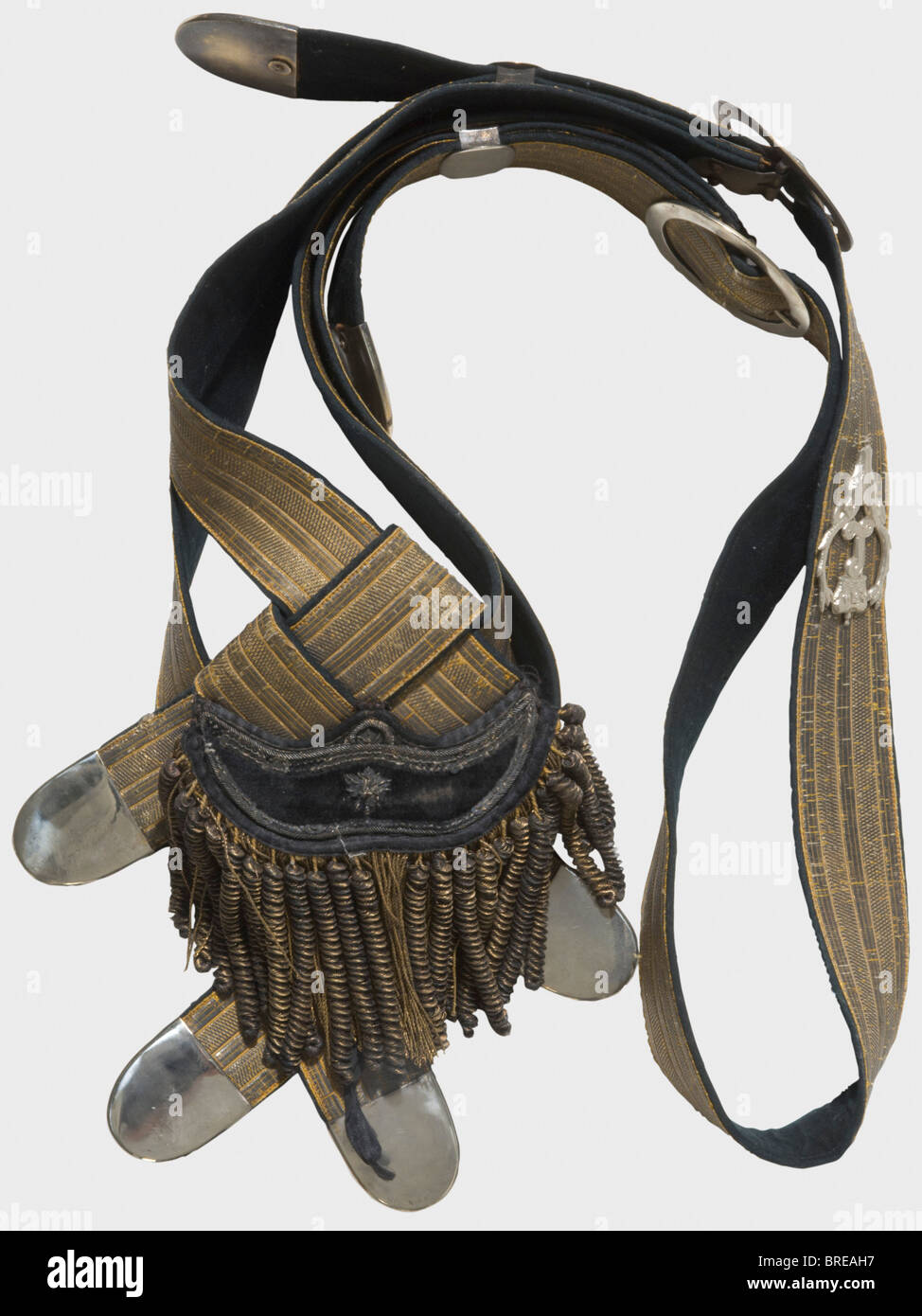 Two hunting bandoliers, Hessian and Count Stollberg-Wernigerode, 19th century, respectively Both velvet-backed bandoliers - Stock Image