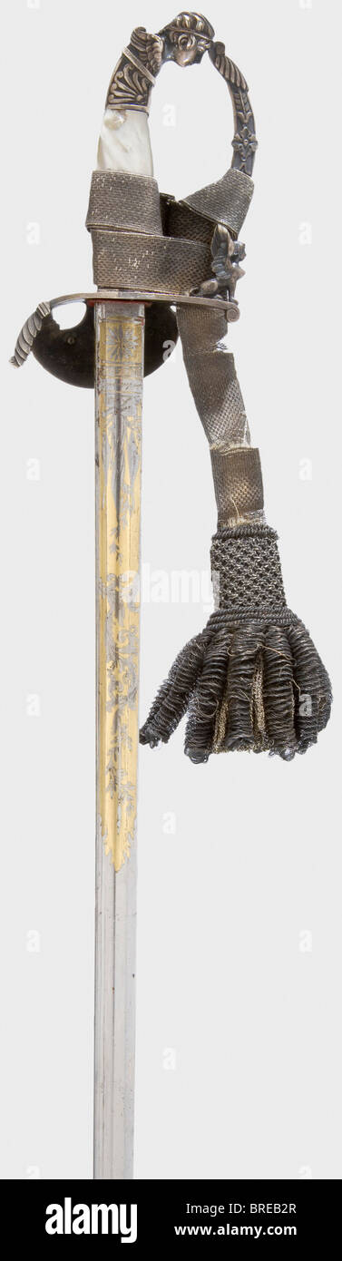 A sword for an Austrian court official, circa 1820 A single-edged blade with fullers and grooves, the top quarter - Stock Image