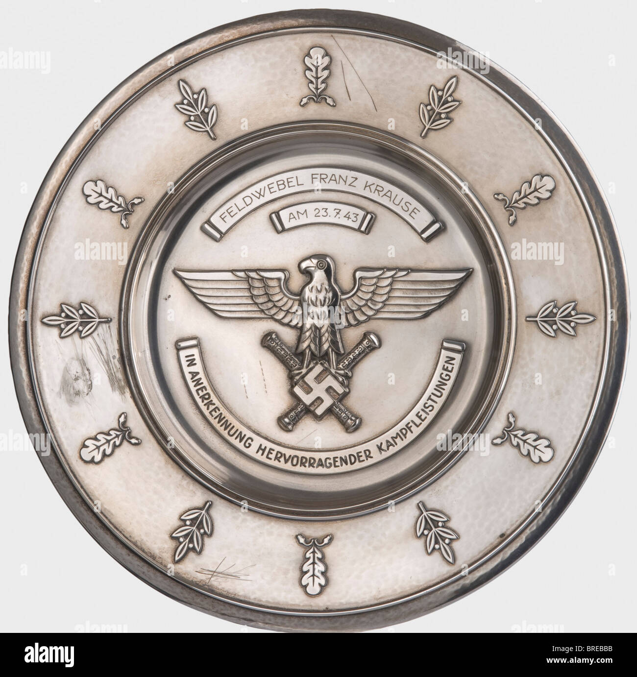 A Luftwaffe honour salver for outstanding conduct in combat, to Feldwebel Franz Krause on July 23, 1943 Recess-stamped, - Stock Image