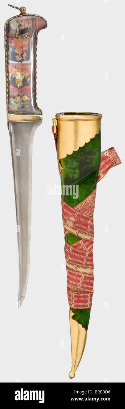 An Indian karud with rock crystal grip scales, 18th/19th century A wootz-Damascus blade reinforced with a T-shaped Stock Photo
