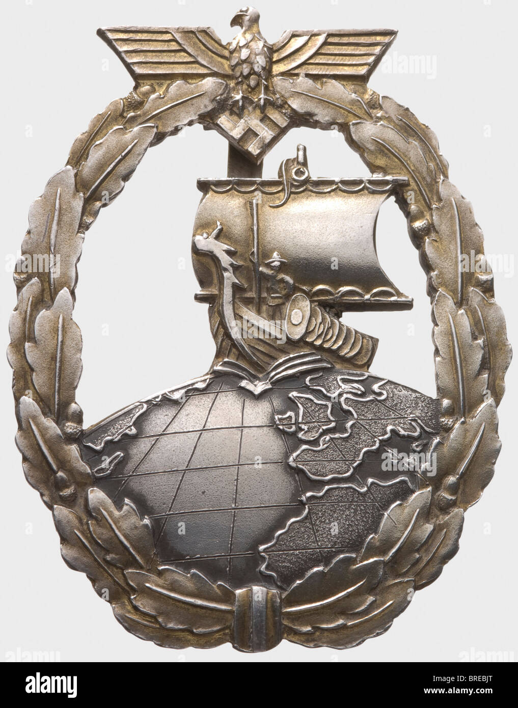 A Auxiliary Cruisers War Badge in sterling silver, for the crew of auxiliary cruiser 'Thor' One-piece silver - Stock Image