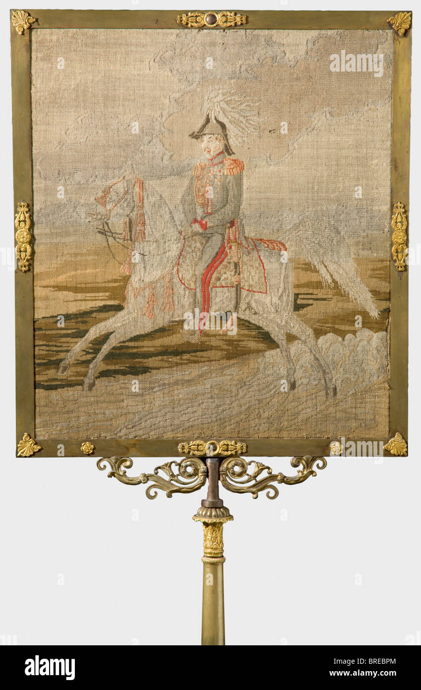 Tsar Alexander I - a light screen embroidered with his on horseback, circa 1820. The Tsar in uniform with orders - Stock Image