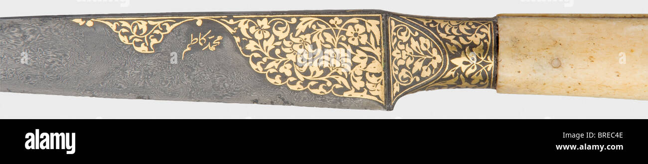 A Persian kard with a nielloed silver scabbard, end of the 18th century Heavy wootz-Damascus blade with a cut back. - Stock Image