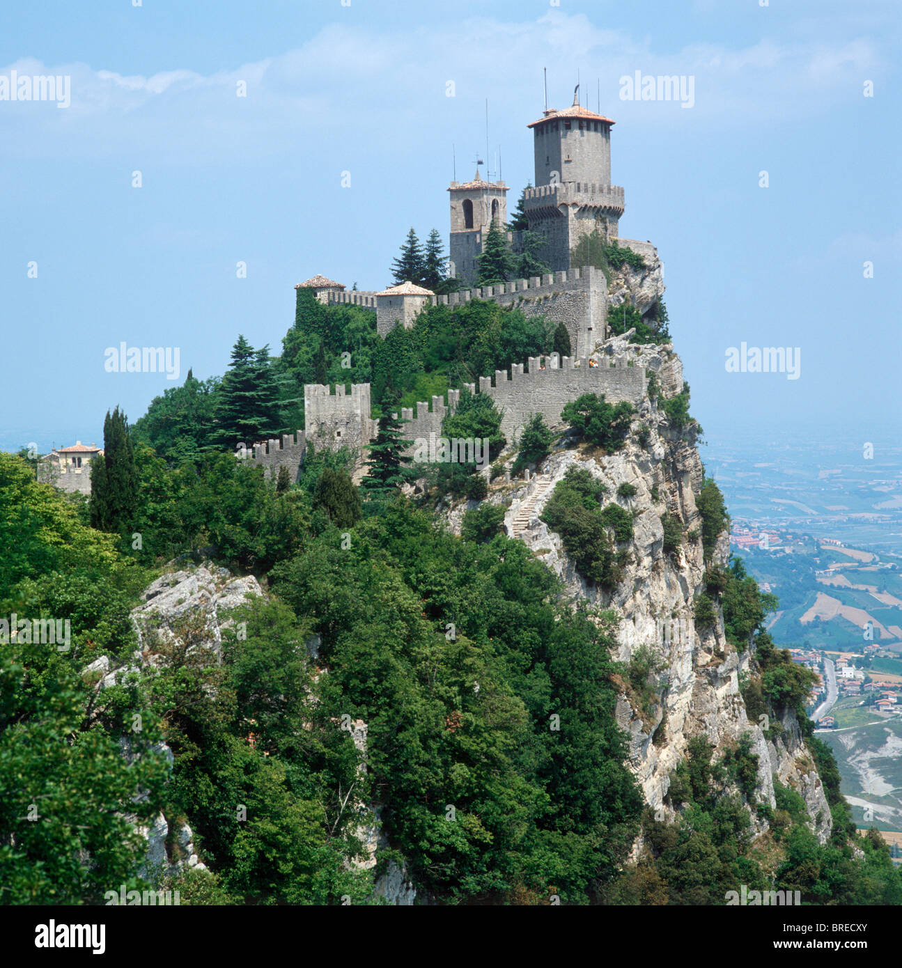 Fortress and City Walls, Republic of San Marino, Italy - Stock Image
