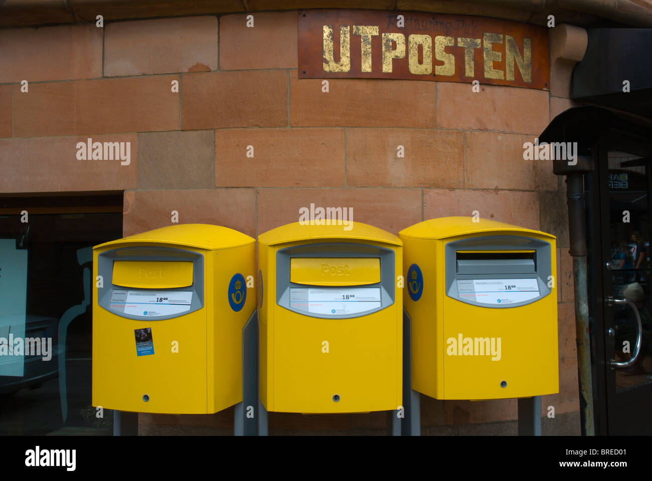 Utposten (Outpost) bar exterior with postboxes old town Helsingborg Skåne Sweden Europe - Stock Image