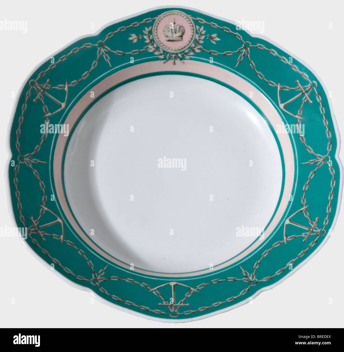 A soup plate from Tsar Alexander II's yacht service, Imperial Russian Porcelain Manufactory St. Petersburg White, - Stock Image