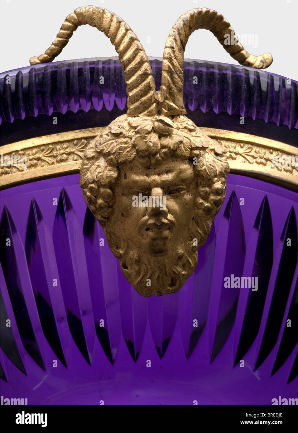 An Austrian confectionery dish, end of the 19th century Crystal glass flashed in violet. Fire-gilt bronze mountings - Stock Image