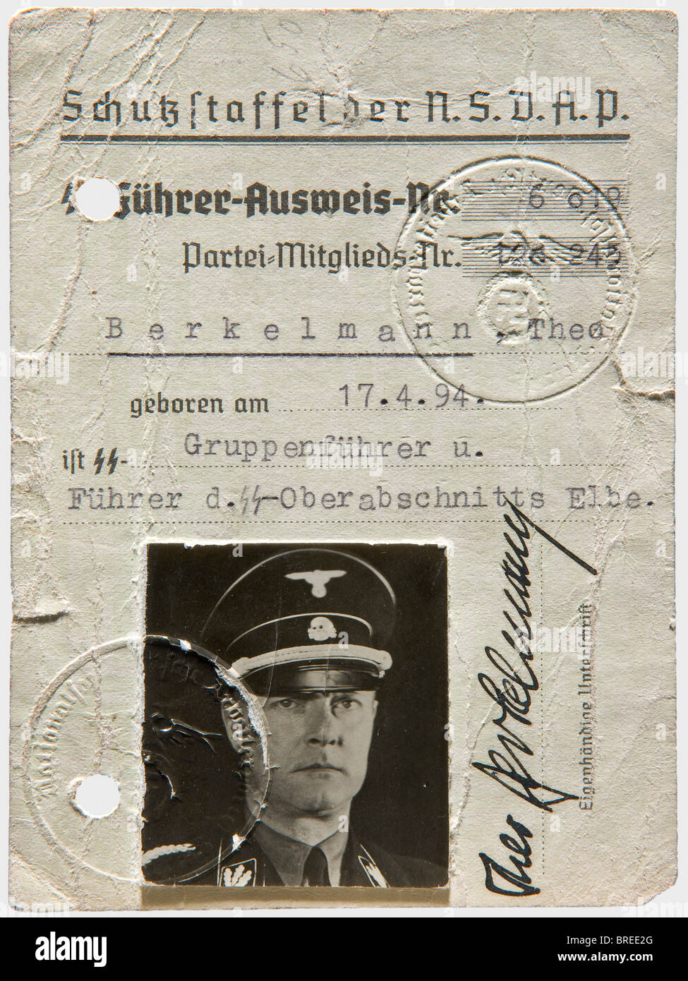 Theodor Berkelmann (1894 - 1943), his identity document for SS Leaders Identity card with number '6019' - Stock Image