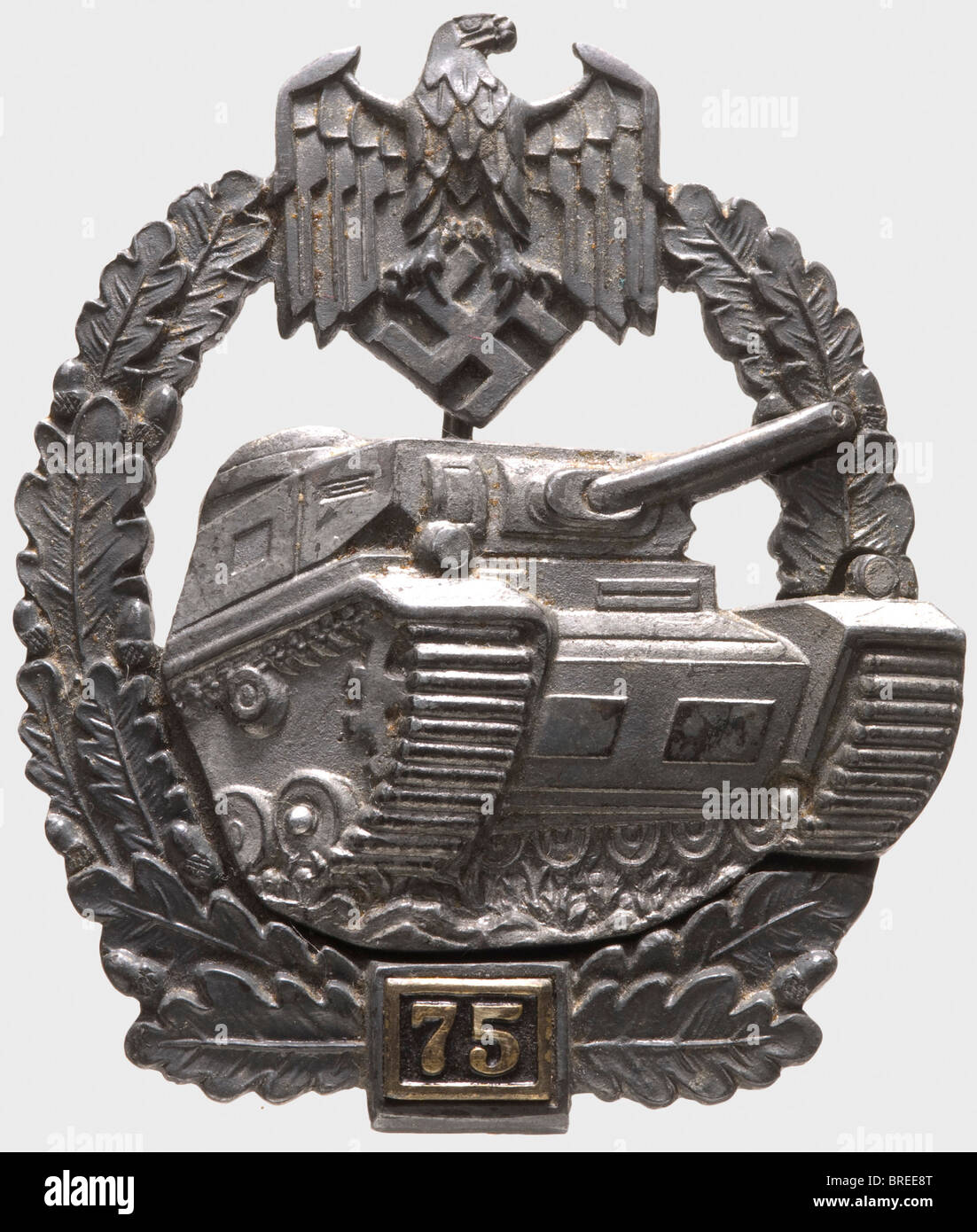 An Army Tank Assault Badge in Silver, Grade IV for 75