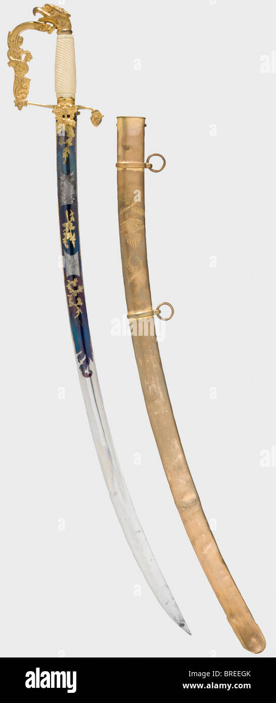 A US officer's sabre, middle of the 19th century Curved single-edged blade with fullers, etched and gilt trophy - Stock Image