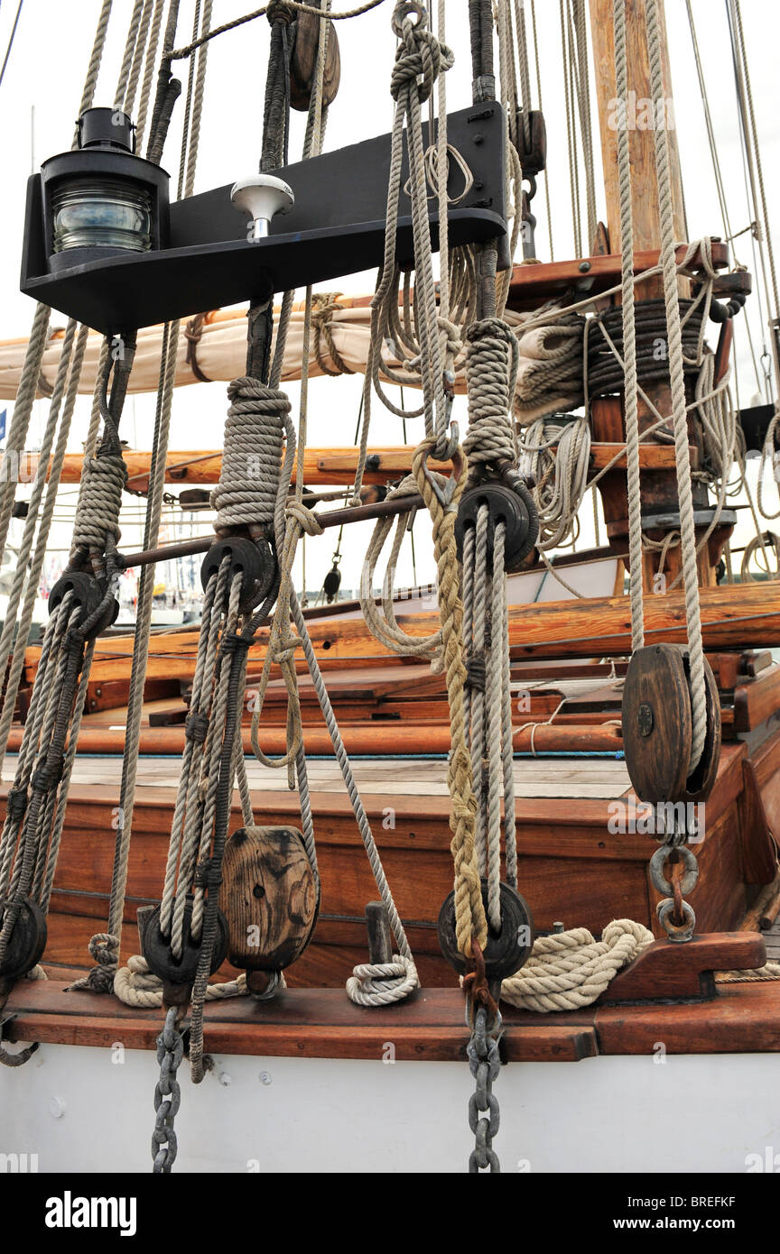 tall ship rigging - Stock Image