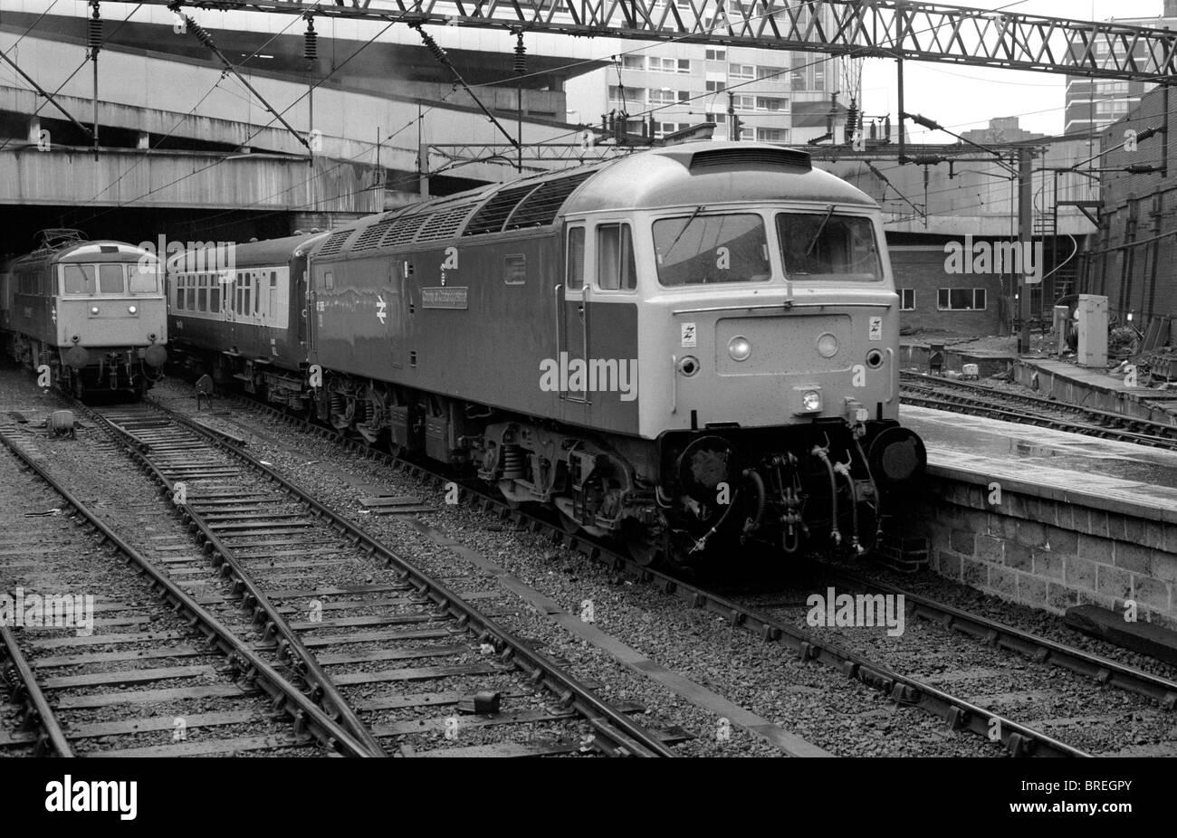 Trains at Birmingham New Street railway station 1985 - Stock Image
