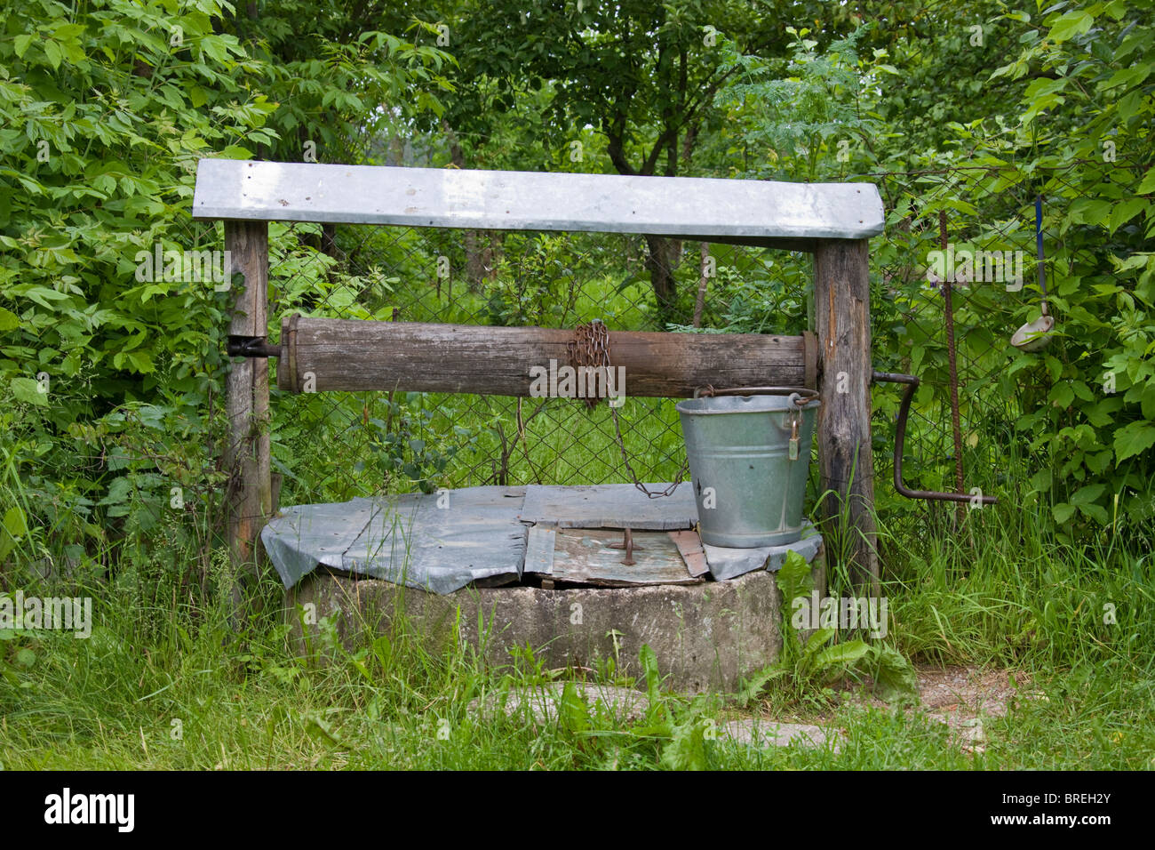 An old well still in use. - Stock Image
