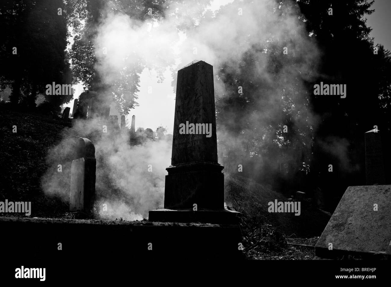 Transilvania, Romania . Sighişoara. Cemetery. Fog among the graves - Stock Image