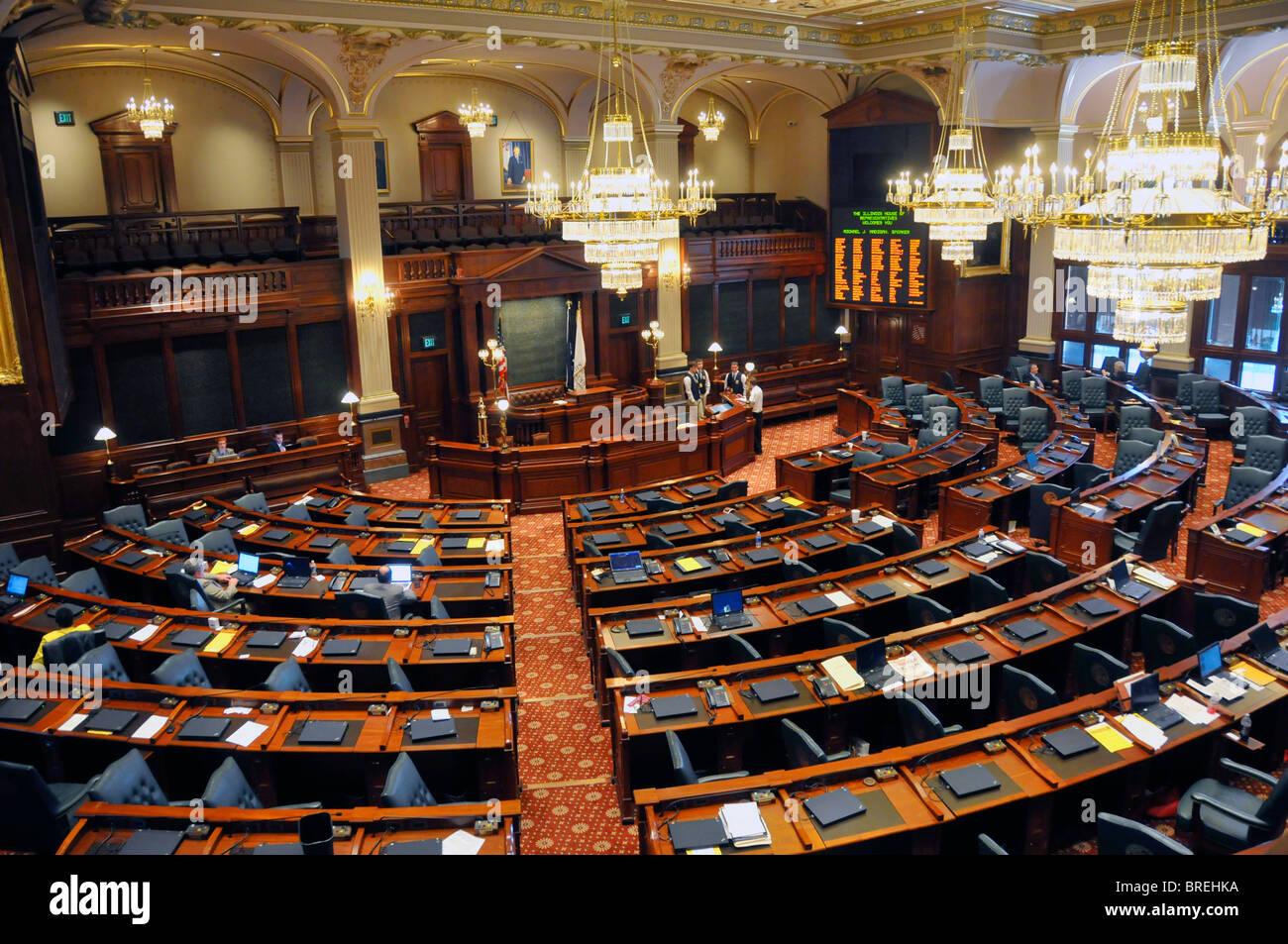 House of Representatives Chamber Springfield Illinois State Capitol Building - Stock Image