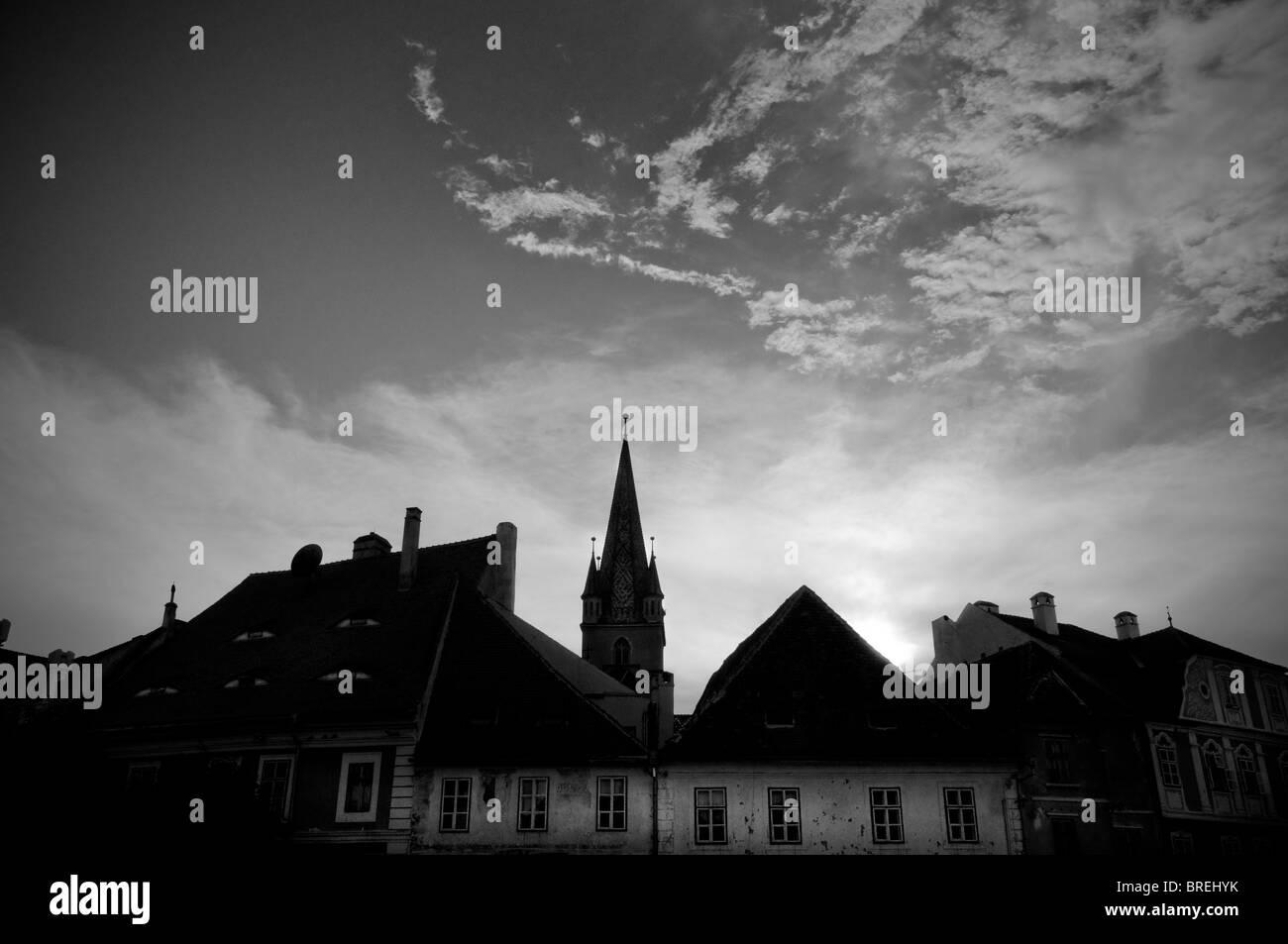 Romania, Transylvania Sibiu. Sunset - Stock Image