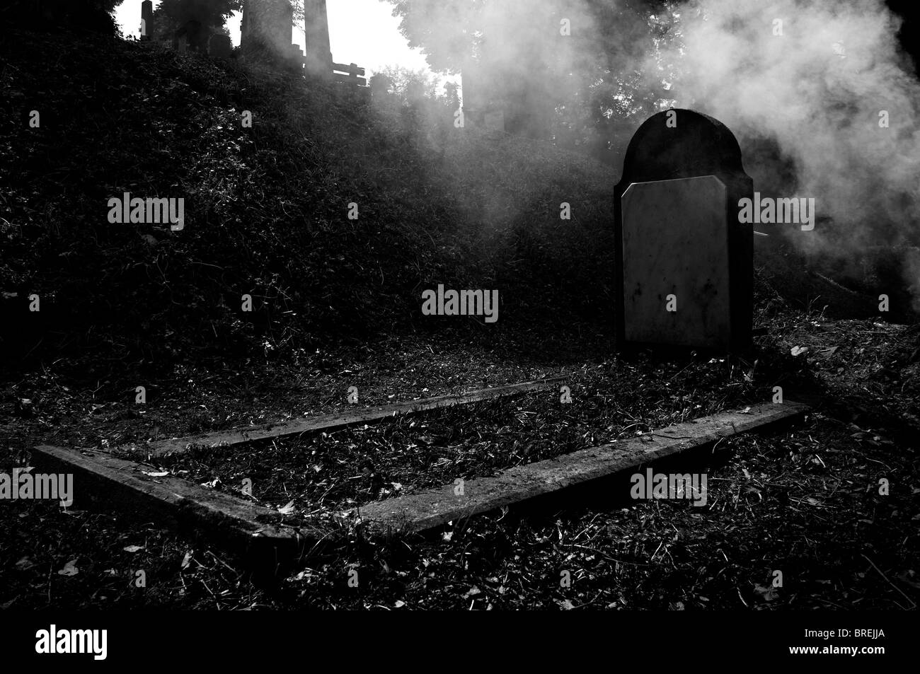Romania - Transylvania: Sighişoara Cemetery. Fog among the graves - Stock Image