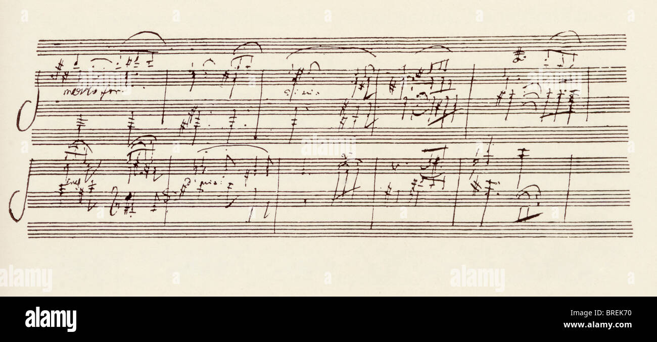 Portion of the MS. of Ludwig van Beethoven's sonata in A, Op.101. Stock Photo