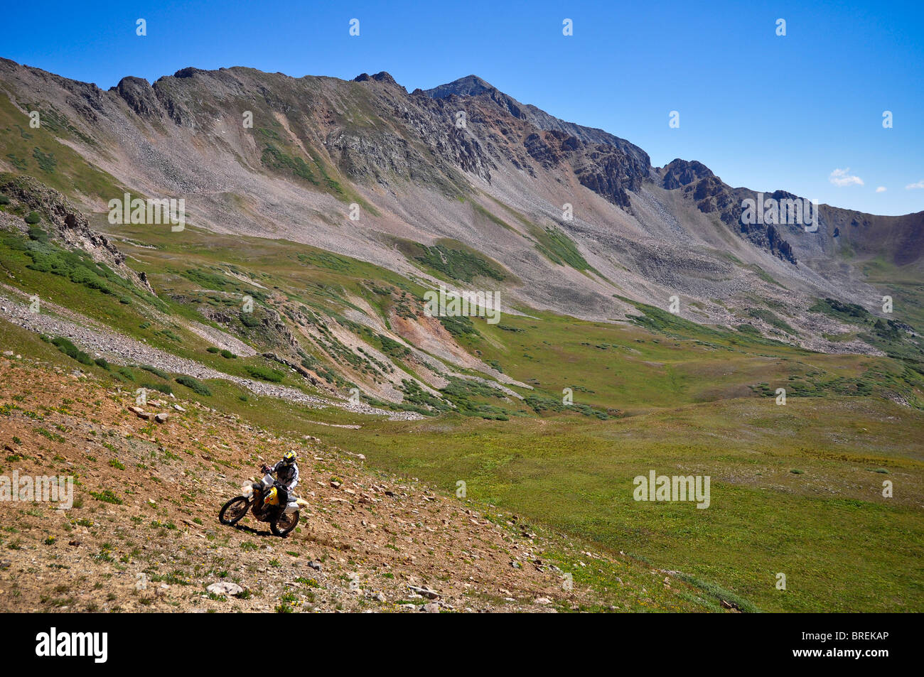 offroad motorcycle rider, Pearl Pass, Crested Butte, Colorado, USA - Stock Image