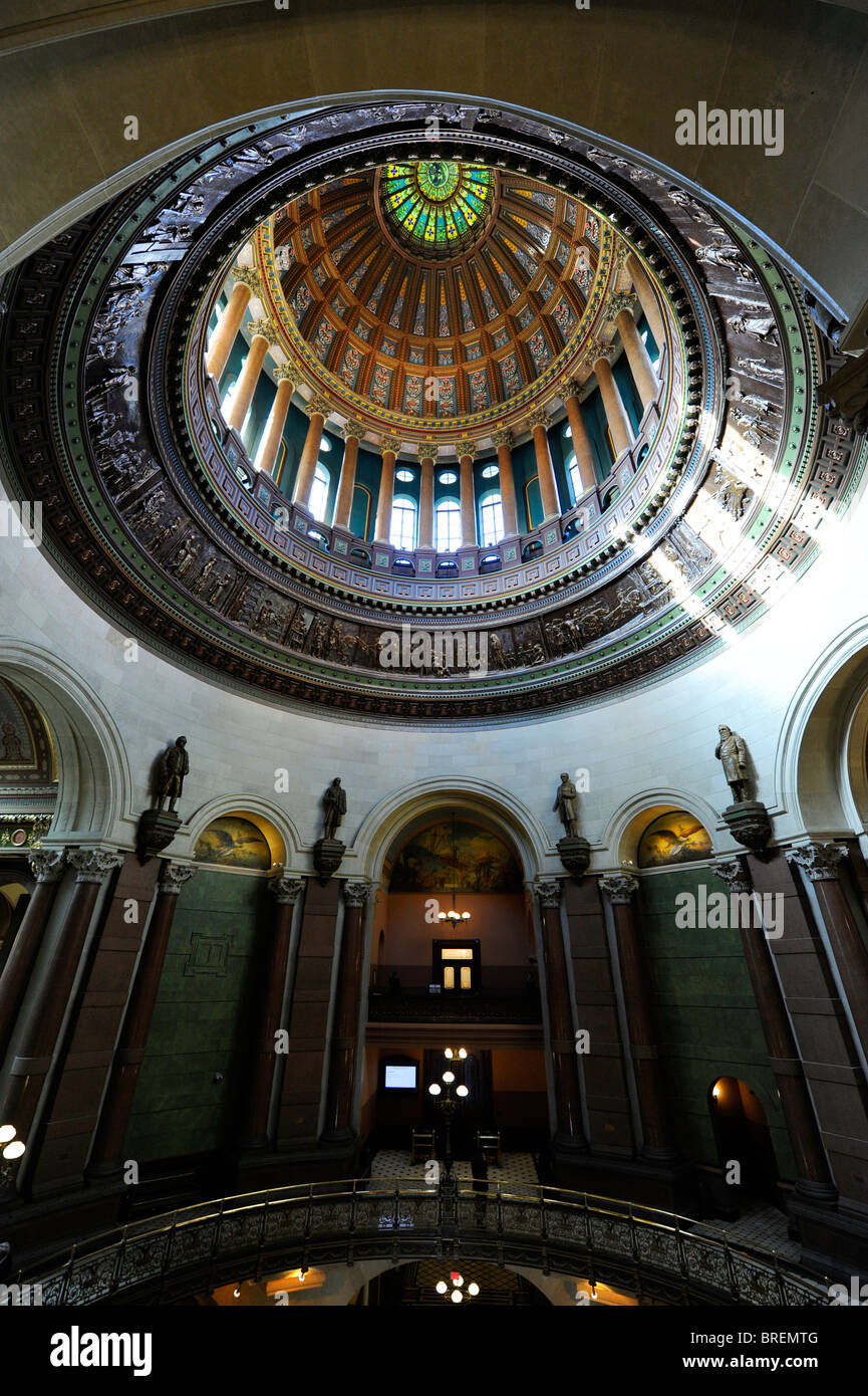 Interior Dome of Illinois State Capitol Springfield - Stock Image