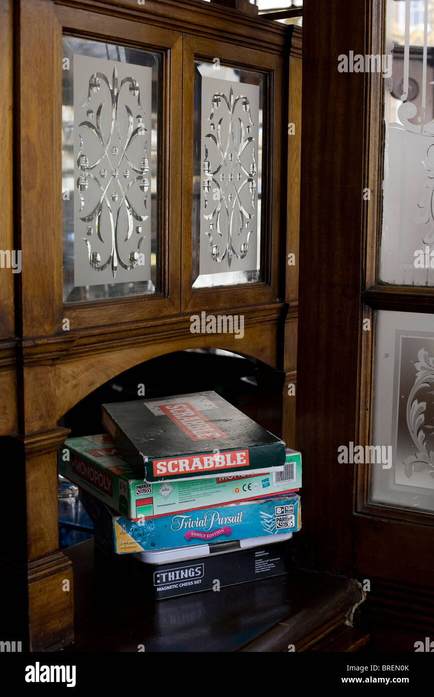 The Crown a popular pub for beer and food in Islington London. Traditional board Games - Stock Image