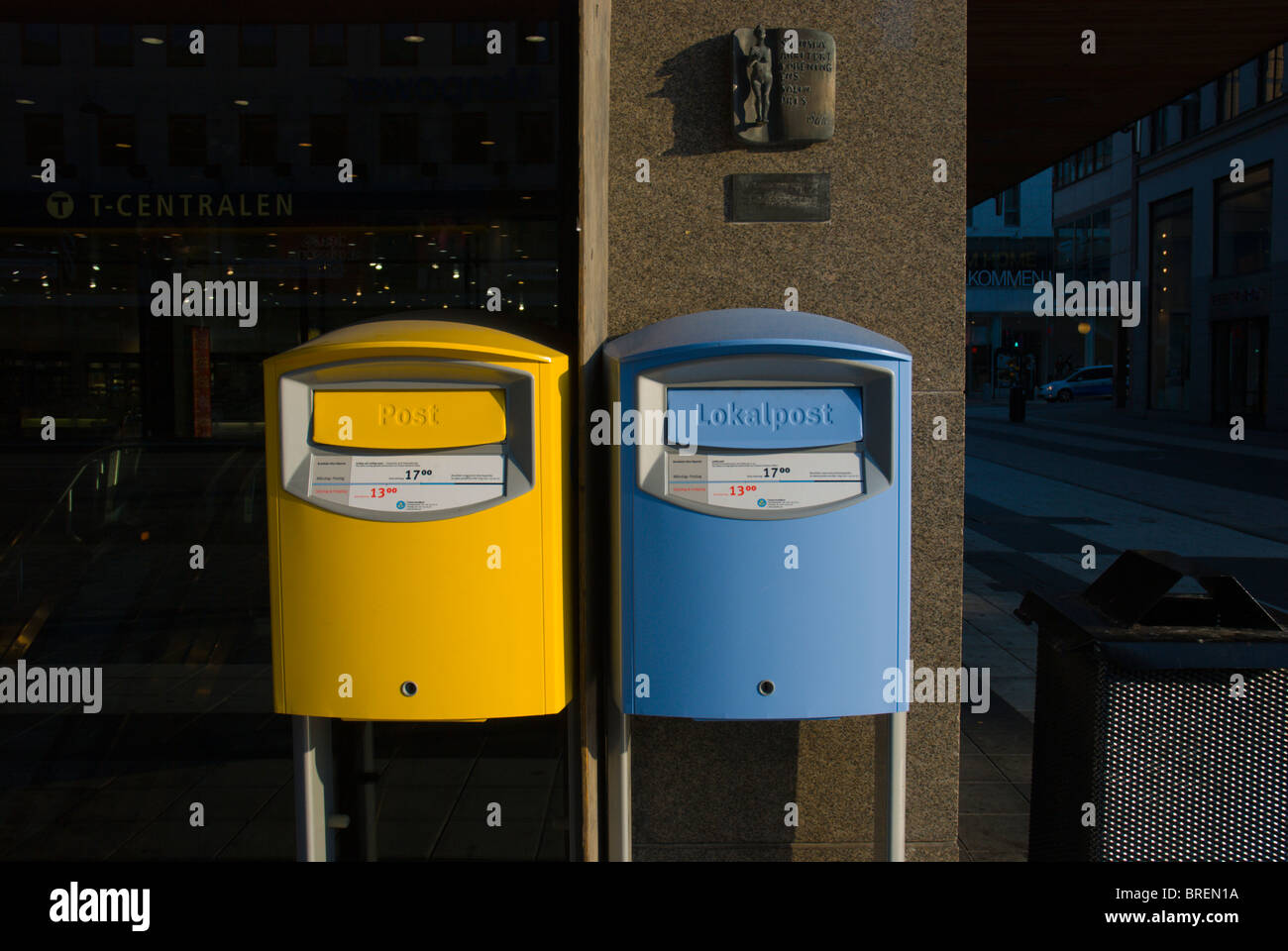 Postboxes central Stockholm Sweden Europe - Stock Image