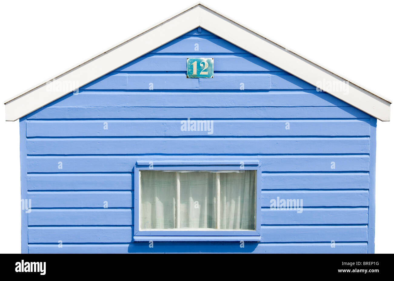 Isolated Colourful blue white Beach Hut at the Beach of Southwold, England - Stock Image