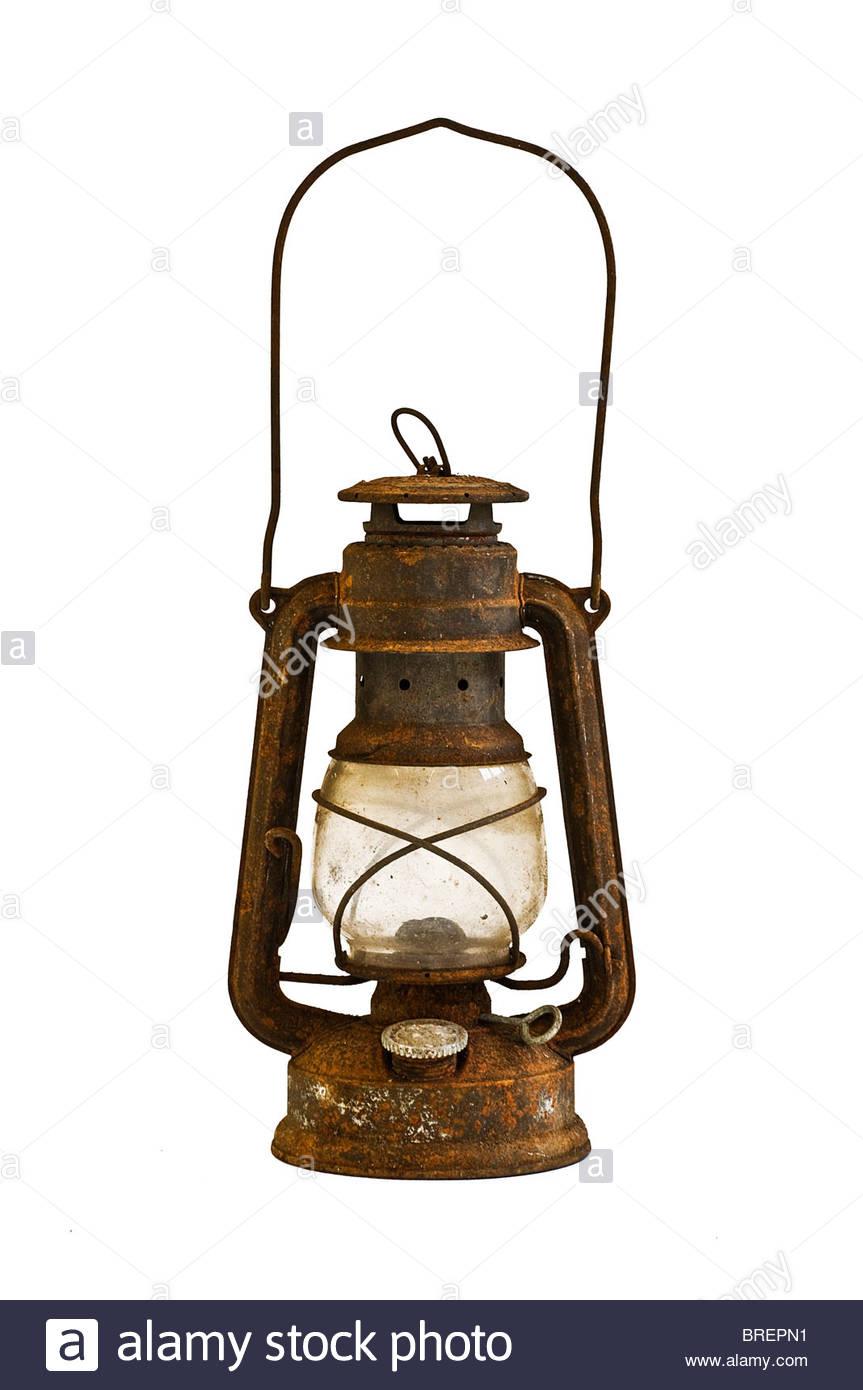 Rusty oil lamp - Stock Image