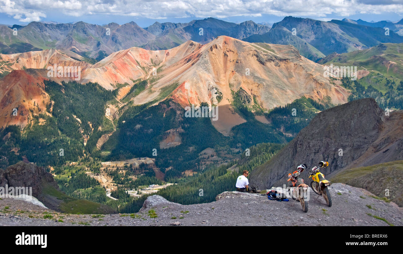 Motorcycle rider on Imogene Pass, Telluride, Ouray, Colorado - Stock Image