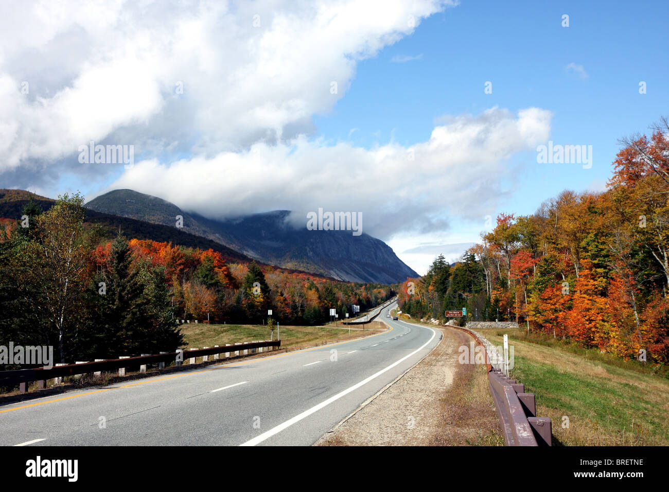 A mountain and the trees at fall time - Stock Image