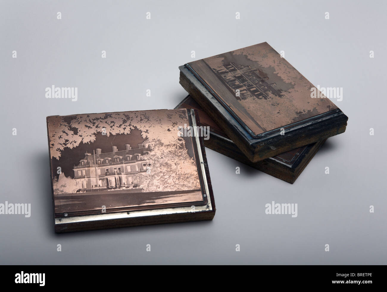Letterpress blocks used to print a picture. - Stock Image