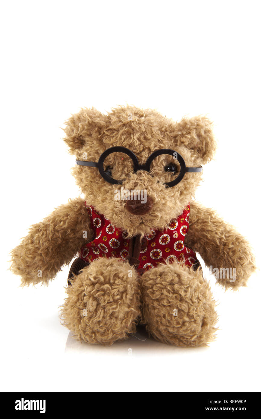 6096ee85295 Stuffed toy bear with glasses isolated over white Stock Photo ...