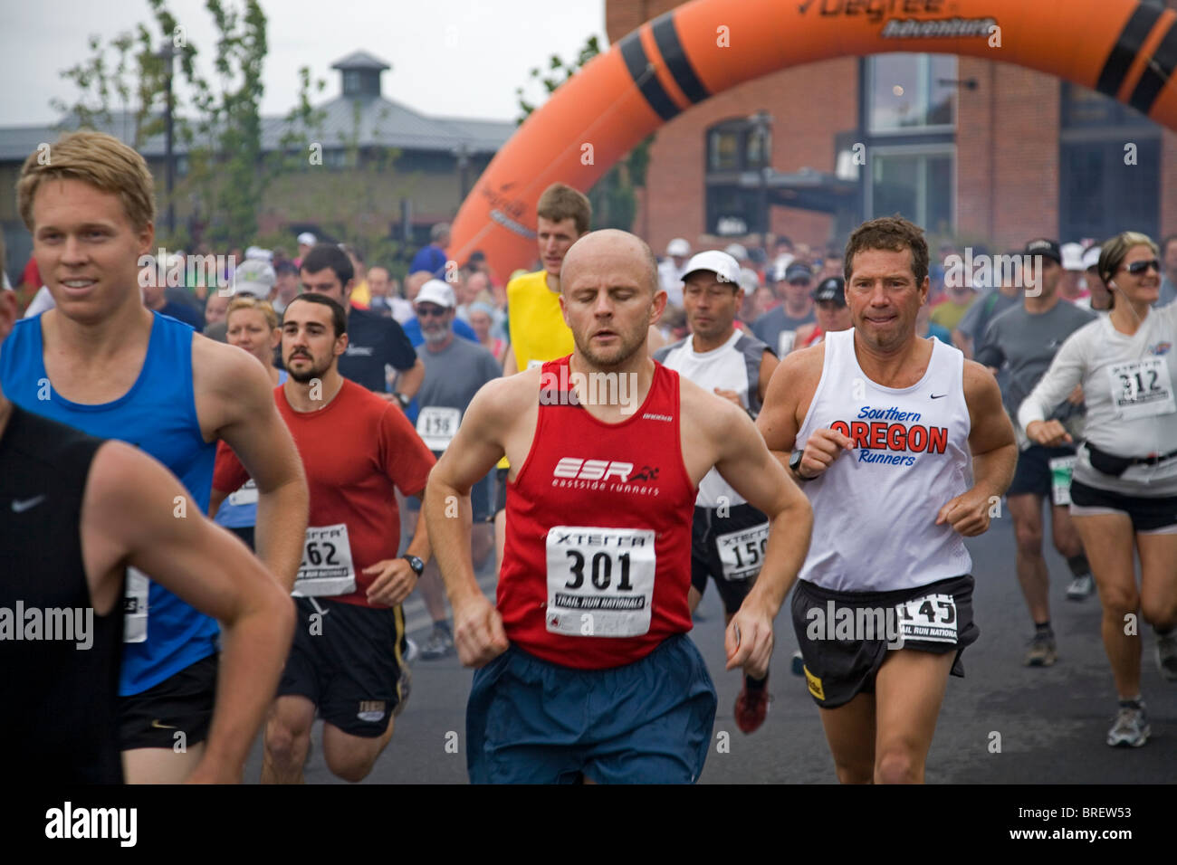 The start of the National finals of the fund raising Exterra Trail Run in Bend, Oregon - Stock Image