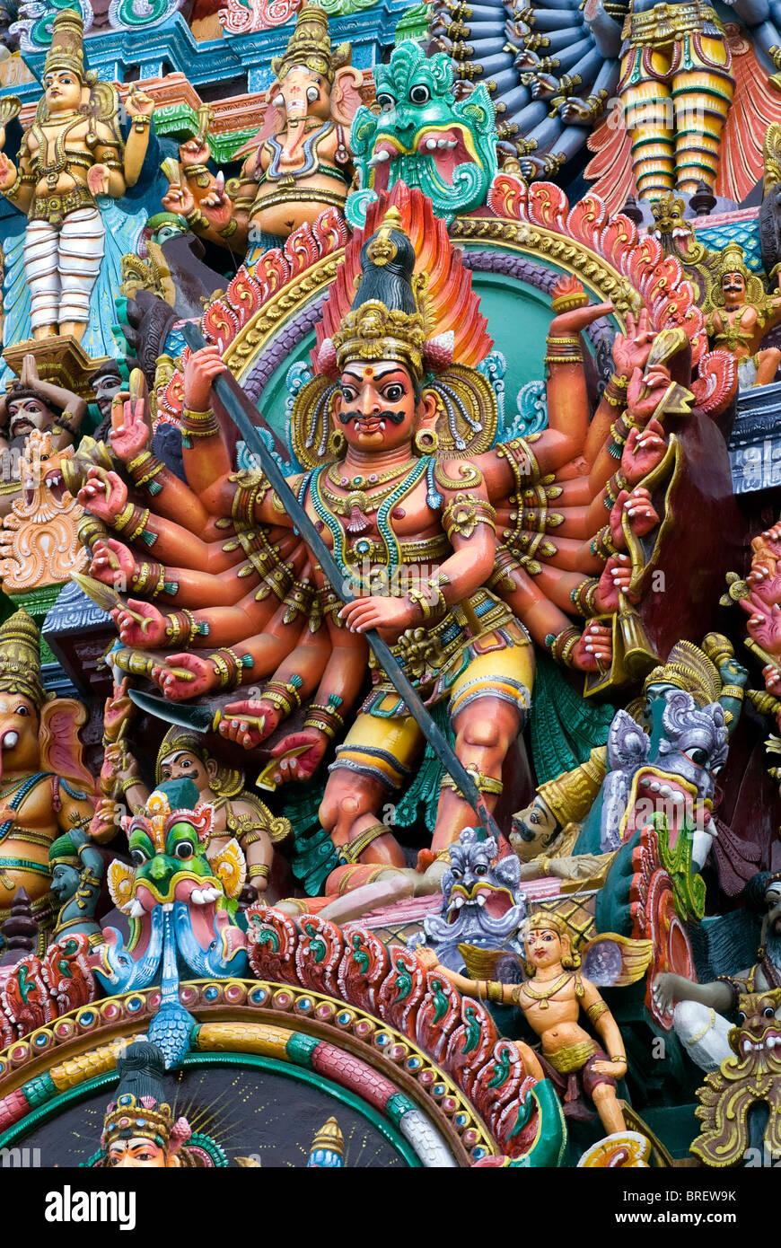 Stucco figures of deities on Meenakshi Amman Temple's (Hindu;Saivite) south tower (gopuram); Madurai; Tamil - Stock Image