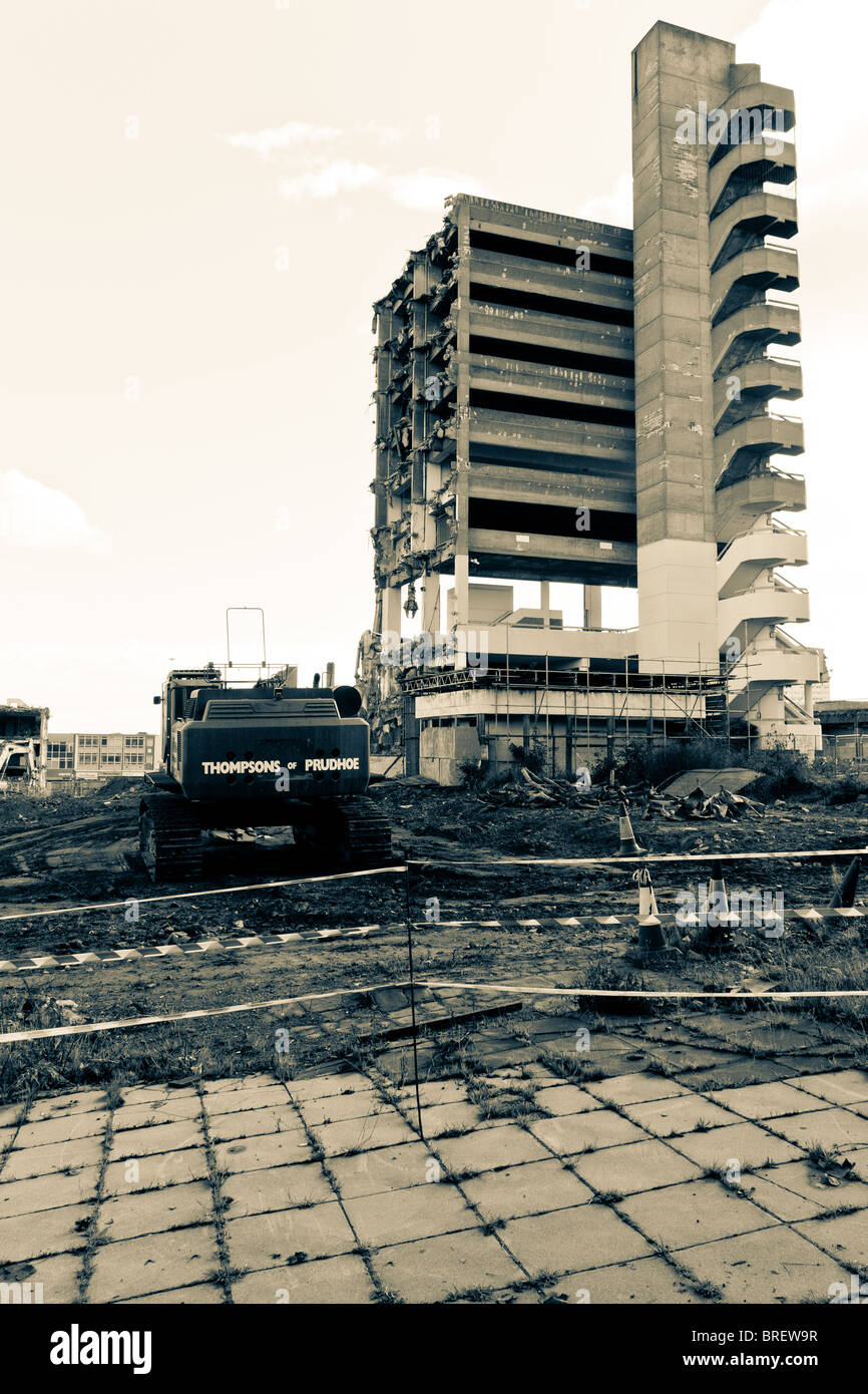 The last part of the infamous ' Get Carter' Trinity Square car park being demolished in Gateshead. - Stock Image