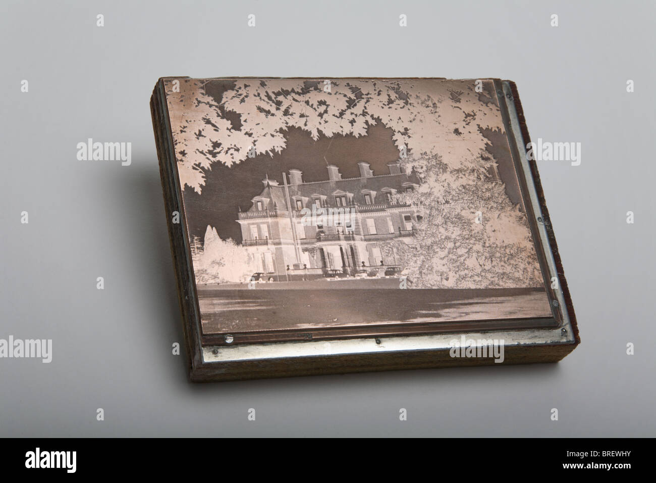 Letterpress block used to print a picture. - Stock Image
