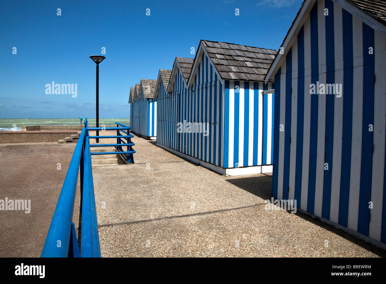 Beach huts at Saint-Valery-en-Caux, Upper Normandy, France - Stock Image