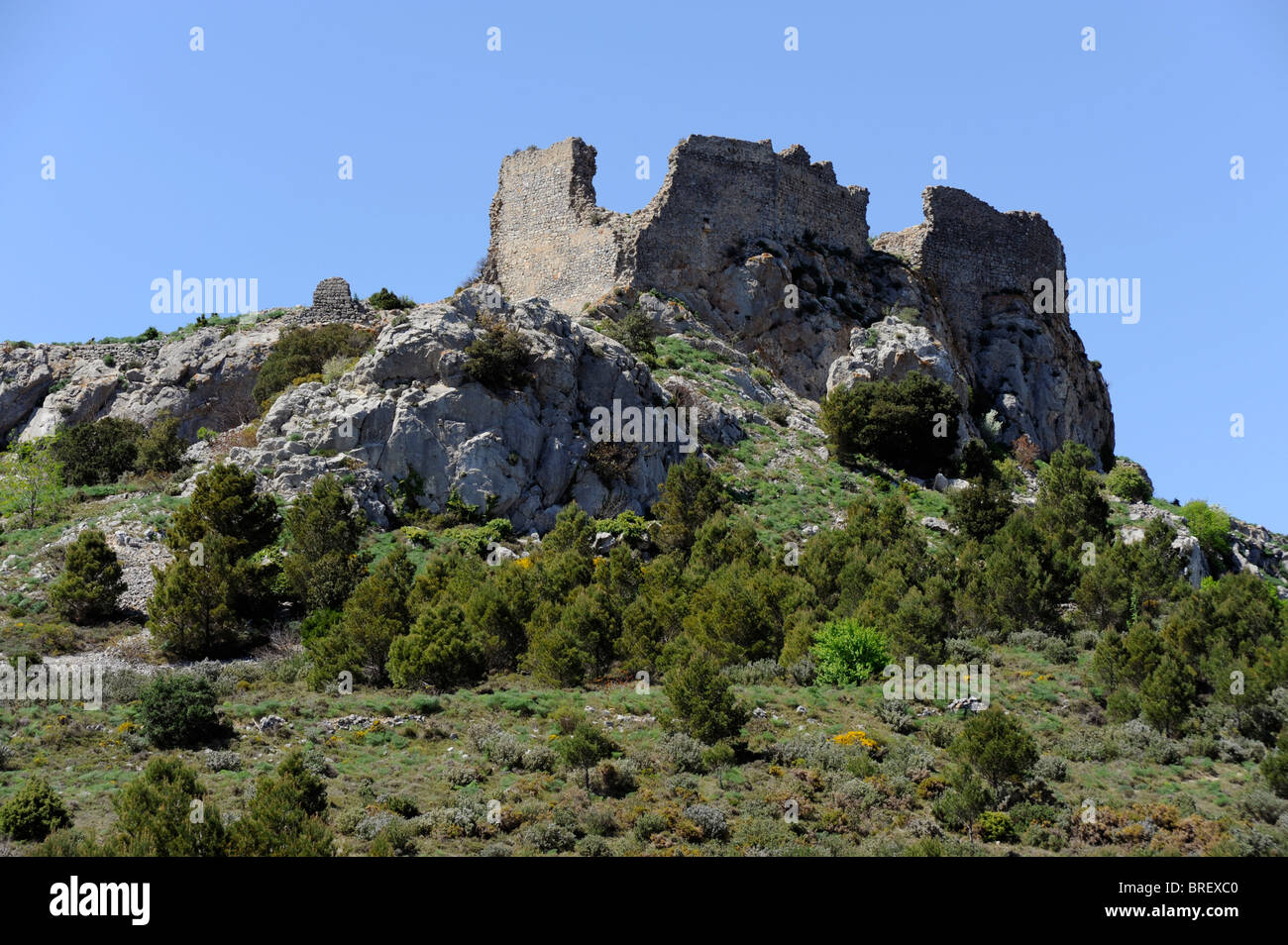 Opoul Perillos castle, Cathar country, Pyrenees Orientales ...