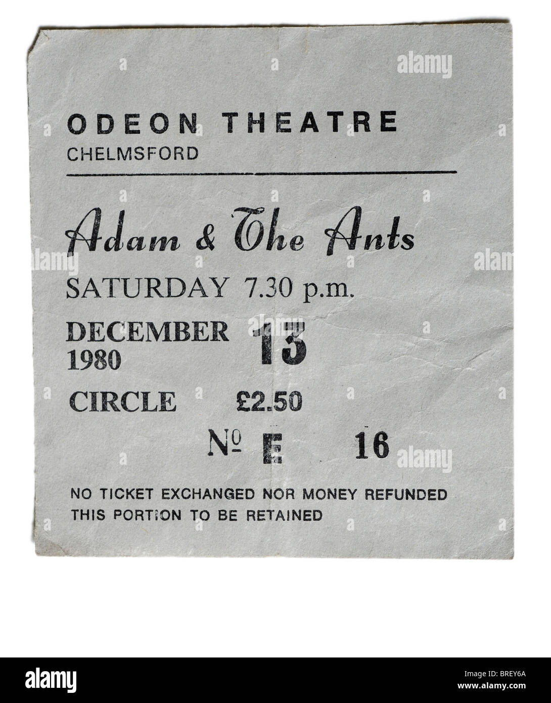 An Adam and the Ants concert ticket - Stock Image
