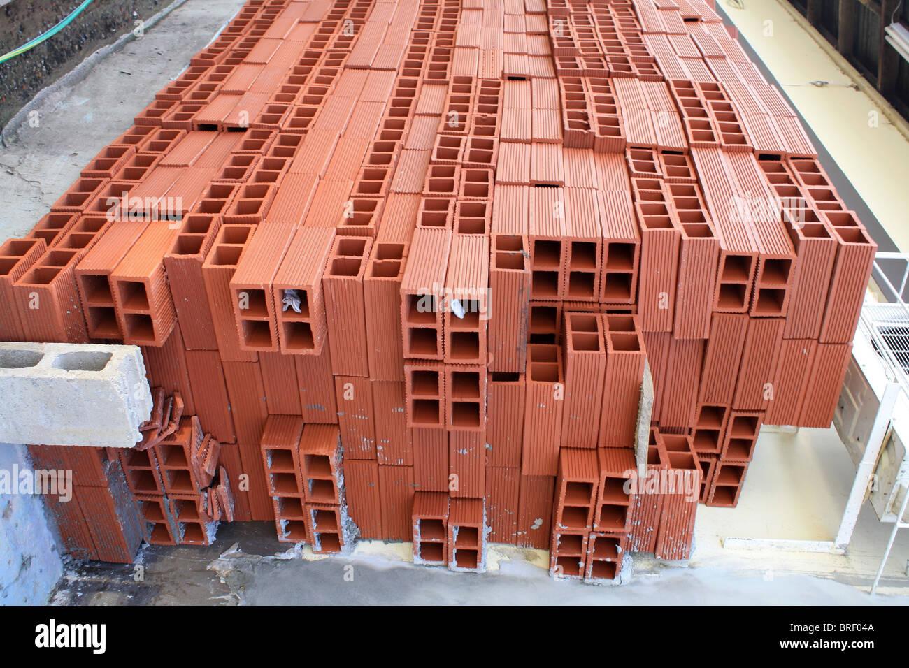 Red Bricks, Building Material. - Stock Image