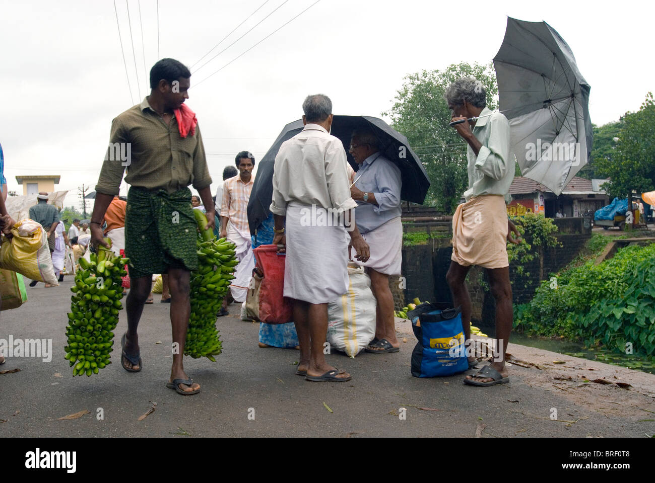Market at Thalayolaparambu, Kerala, South India, India, Asia. - Stock Image