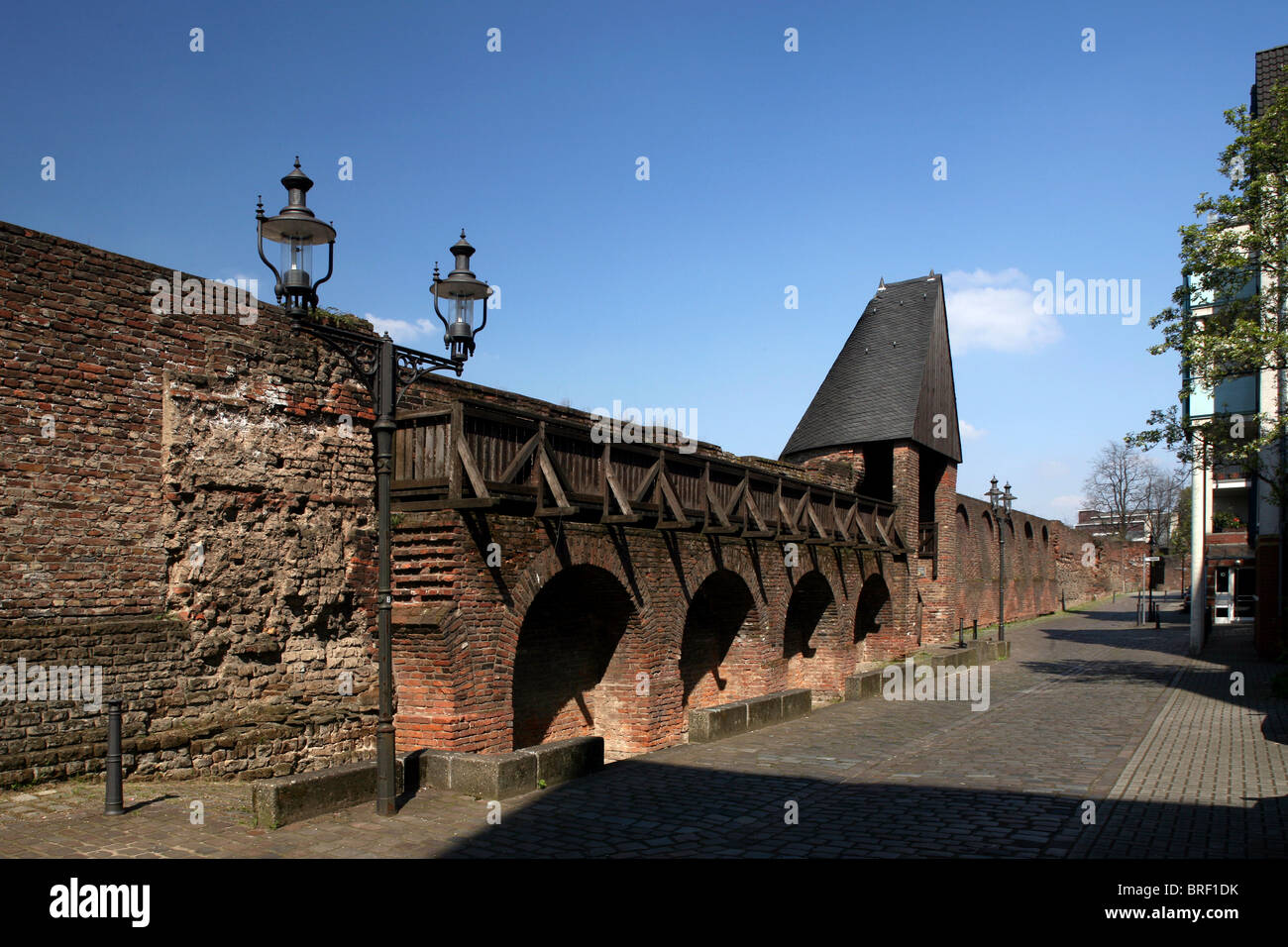 City wall, Duisburg, Ruhr Area, North Rhine-Westphalia, Germany, Europe - Stock Image