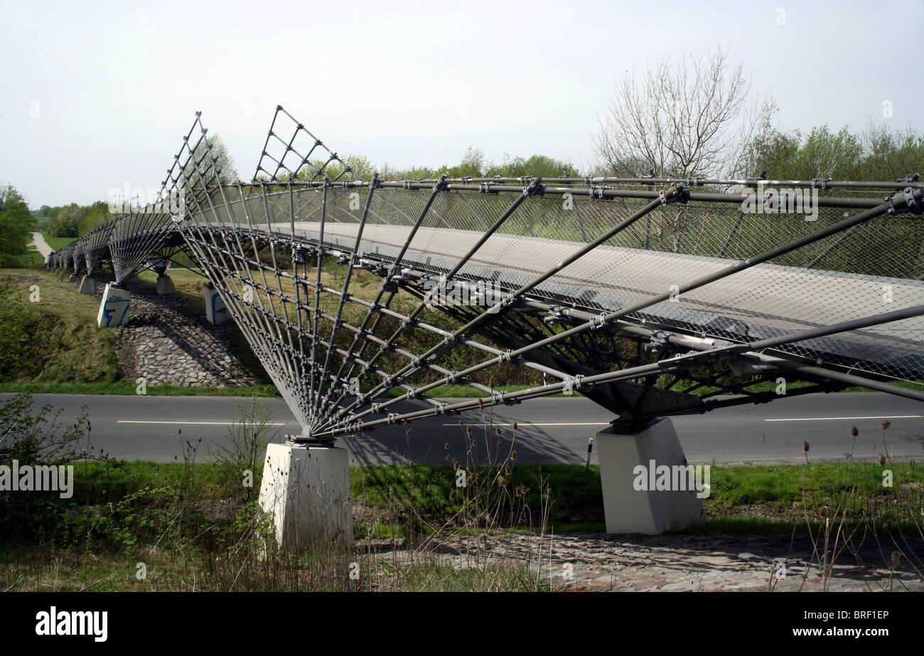 Mechtenbergbruecke Bridge, Gelsenkirchen, Ruhr Area, North Rhine-Westphalia, Germany, Europe - Stock Image