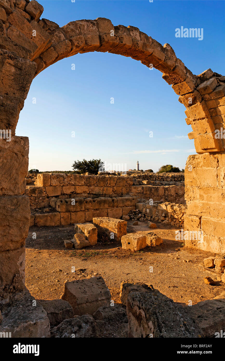 Saranda Kolones fortress, archway, archeology, UNESCO World Heritage Site, Kato, Paphos, Pafos, Cyprus, Europe - Stock Image