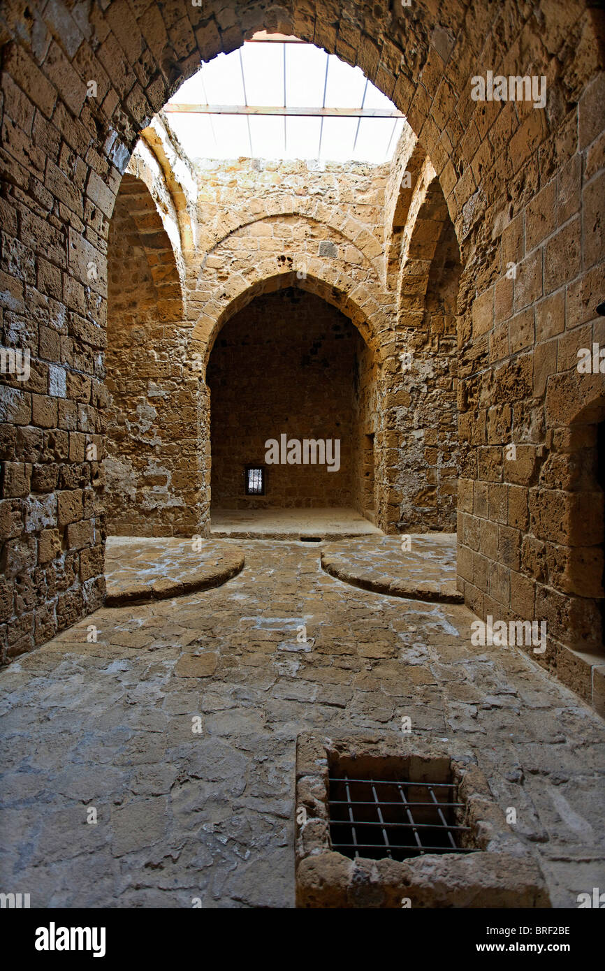 Castle interior, pointed arch, UNESCO World Heritage Site, Kato, Paphos, Pafos, Cyprus, Europe - Stock Image