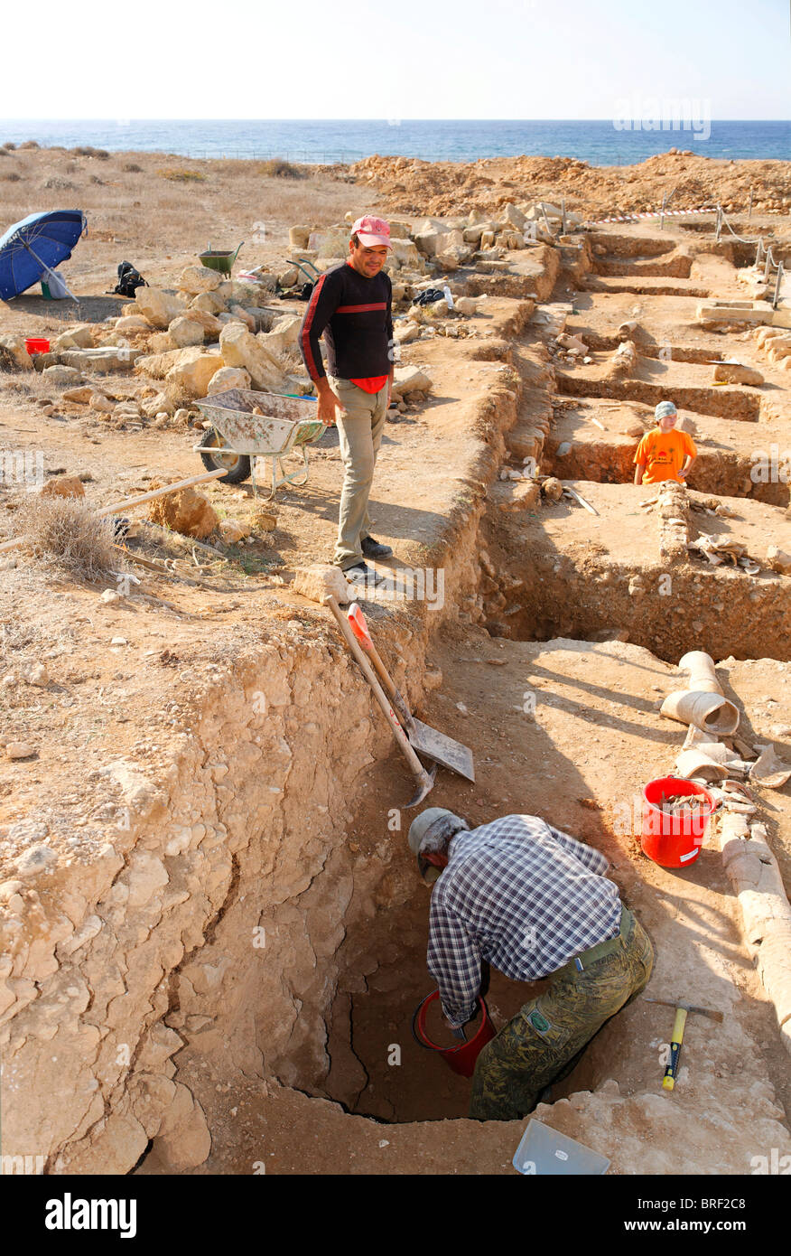 Archeologists excavating ancient foundations, UNESCO World Heritage Site, Kato, Paphos, Pafos, Cyprus, Europe - Stock Image